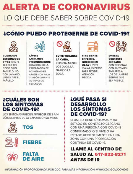 Coronavirus alert flyer in Spanish
