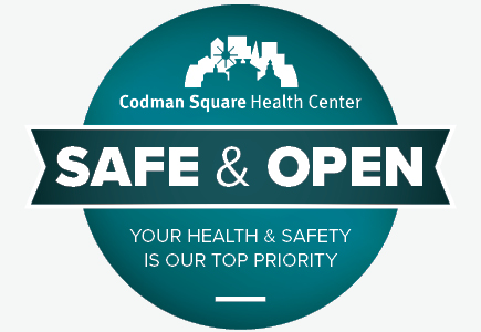 codman square health center graphic showing they are safe and open