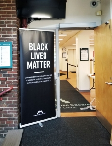 black lives matter vertical banner in lobby