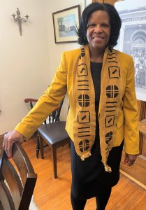 Sandra Cotterell wears cultural scarf