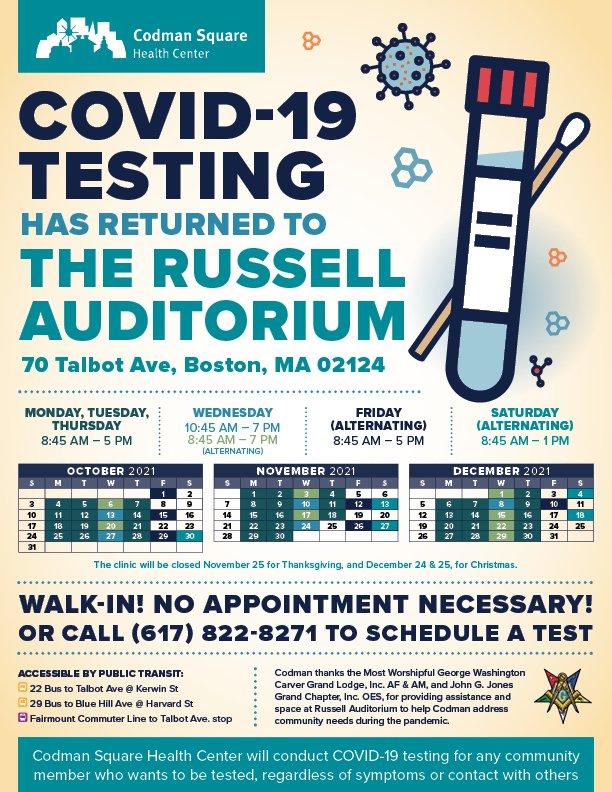 Russell Auditorium Testing Schedule